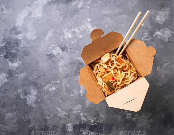 Box with  traditional asian noodles - Stock Photo - Images