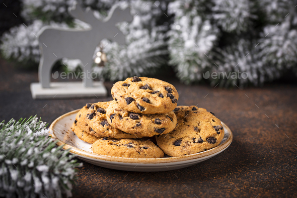 Cookies for Santa near the Christmas tree - Stock Photo - Images