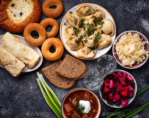 Traditional Russian dishes, sweets and vodka - Stock Photo - Images