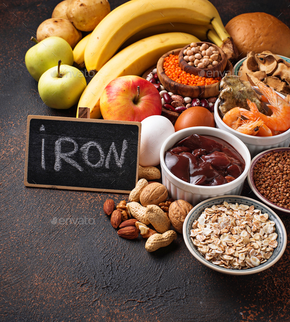 Healthy product sources of iron - Stock Photo - Images