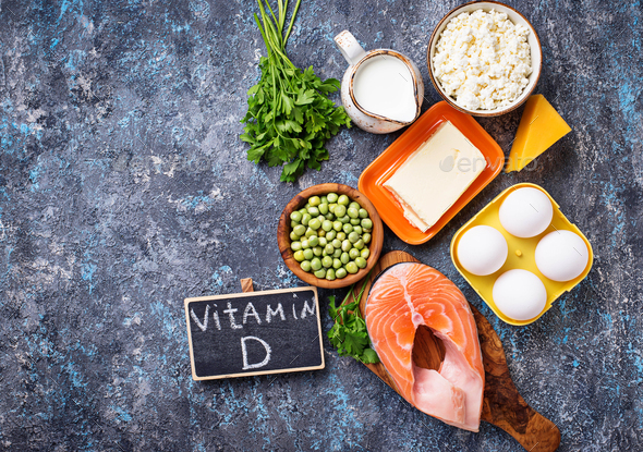 Healthy foods containing vitamin D - Stock Photo - Images