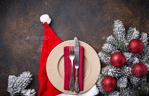 Christmas or New year festive table setting - Stock Photo - Images