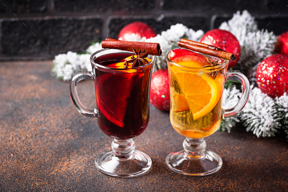 Red and white mulled wine. - Stock Photo - Images