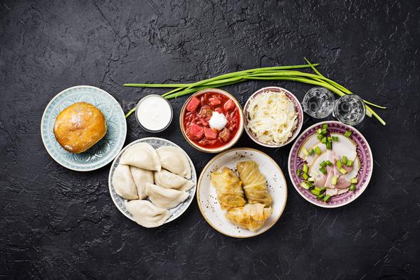 Assortment of traditional Ukrainian  food - Stock Photo - Images
