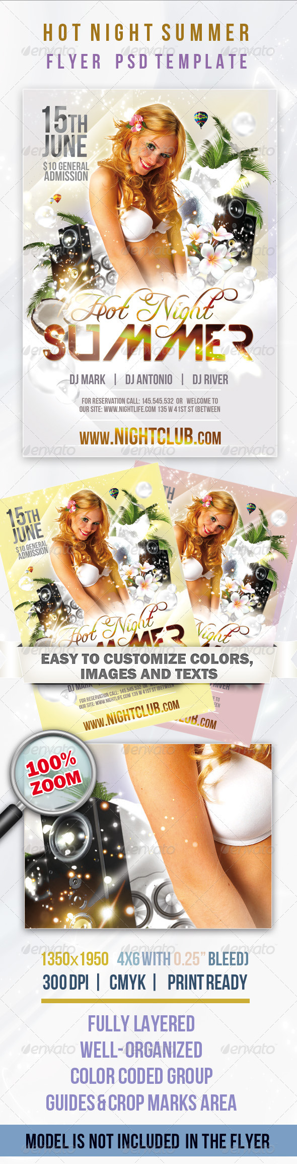 Hot Night Summer - Flyer PSD Template - Clubs & Parties Events