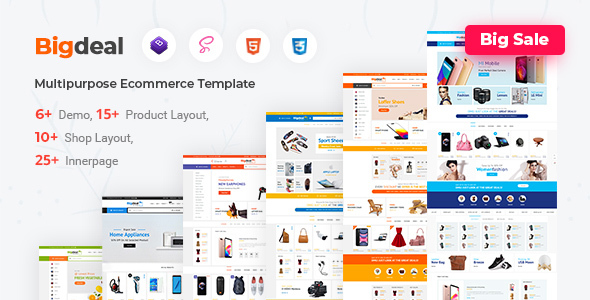 Bigdeal - eCommerce Bootstrap 4 & 5 HTML + Admin Template