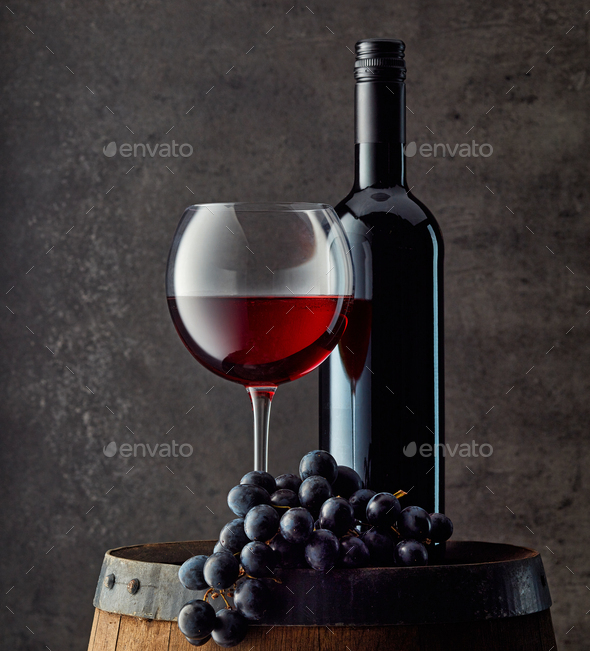 bottle and glass of red wine - Stock Photo - Images