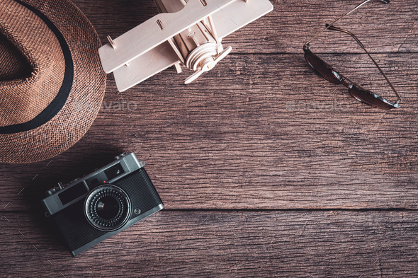 Travel accessories and items on old wooden background with copy space, Travel concept - Stock Photo - Images