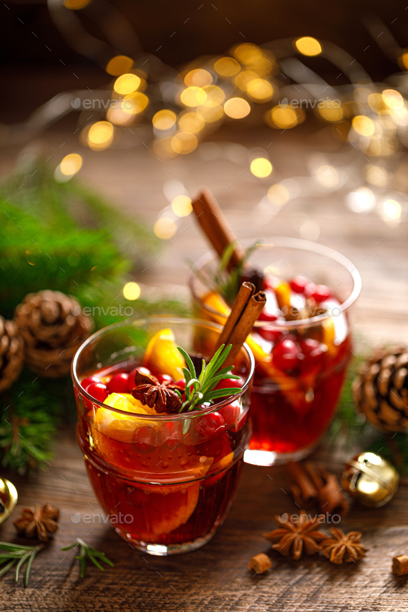 Christmas mulled wine. Traditional holiday drink or beverage, cocktail - Stock Photo - Images