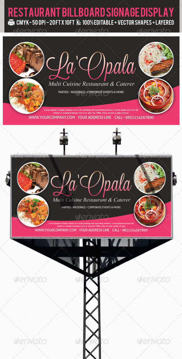 Restaurant Billboard AD Signage PSD Templates - Signage Print Templates