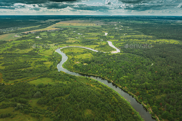 Aerial View Green Forest Woods And River Landscape In Summer Eve - Stock Photo - Images
