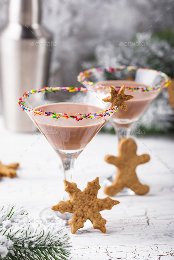 Sugar cookie martini with sprinkles rim - Stock Photo - Images