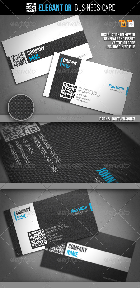 Elegant qr business card by oleana graphicriver elegant qr business card business cards print templates reheart Gallery