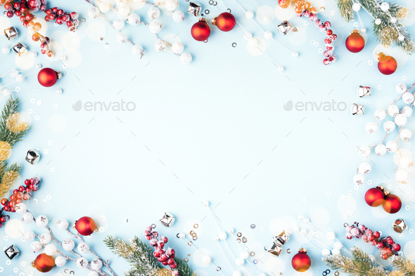 Christmas Frame with Red Baubles, Fir Branches and Decorations. - Stock Photo - Images
