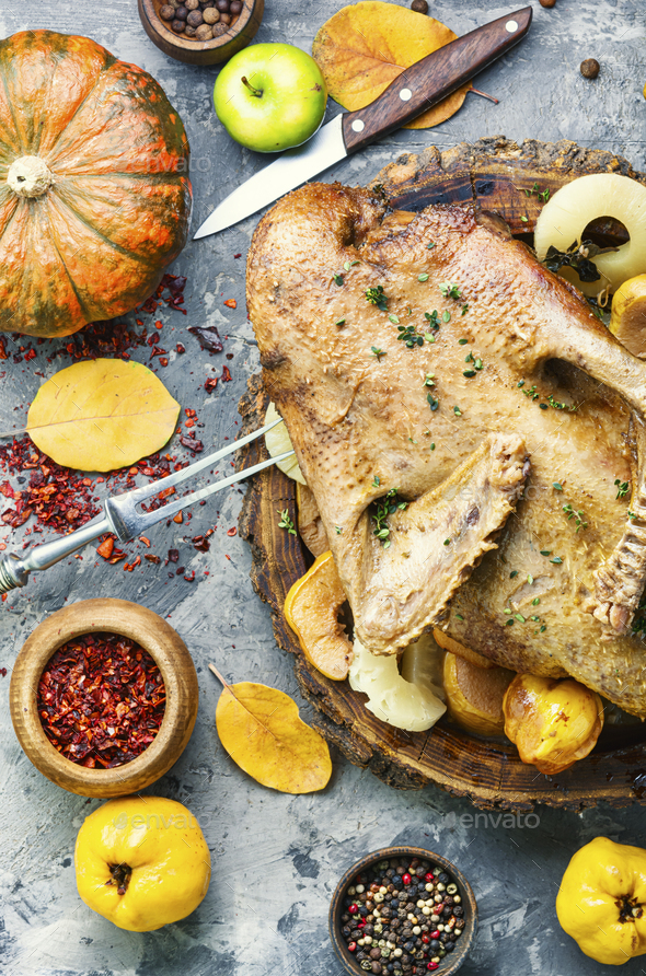 Festive baked duck - Stock Photo - Images