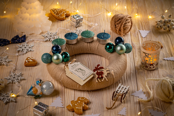 Advent wreath and accessories - Stock Photo - Images