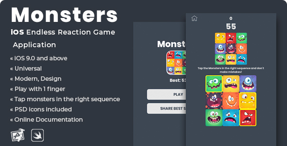 Share codecanyon Monsters | iOS Endless Reaction Game Application