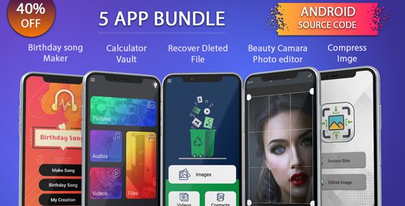 Download codecanyon 5 app android source code bundle, pack, combo