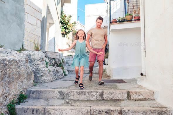 Family on vacation in Europe have fun - Stock Photo - Images