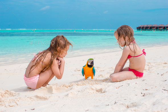 Adorable little girls at beach with colorful parrot - Stock Photo - Images