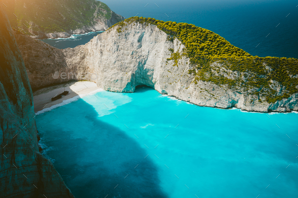Navagio beach with Shipwreck on the beach with turquoise water. Famous landmark location of - Stock Photo - Images