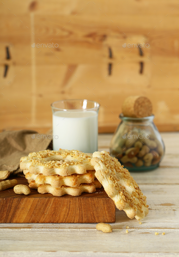 Peanut Cookies with Milk - Stock Photo - Images