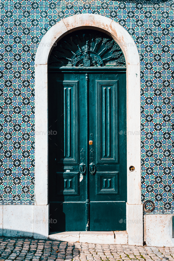 detail of portuguese architecture in Lisbon: Old tradition colorful door of the house in Lissabon - Stock Photo - Images