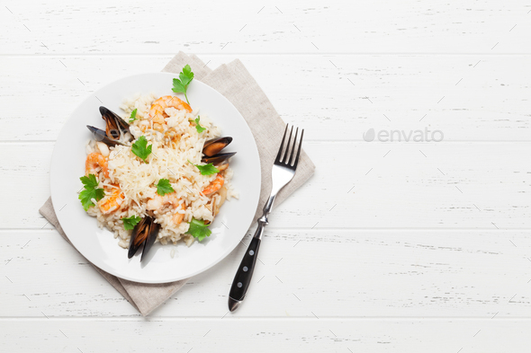 Delicious seafood risotto - Stock Photo - Images
