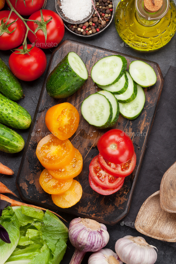 Assorted raw organic vegetables cooking - Stock Photo - Images