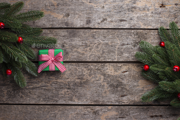Christmas background with gift box - Stock Photo - Images