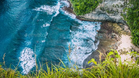 Paluang Cliff on Nusa Penida Island, Bali, Indonesia - Stock Photo - Images