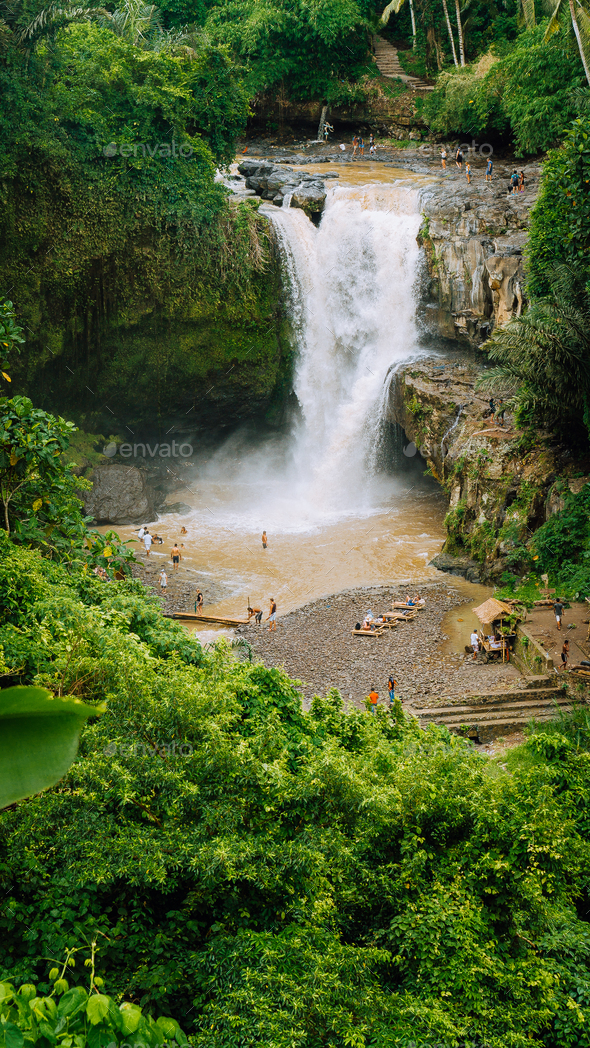 Epic Tegenungan Waterfall. Ubud in Bali, Indonesia - Stock Photo - Images