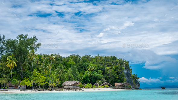 Paradise in Water Hut of Homestay on Kri Island. Raja Ampat, Indonesia, West Papua - Stock Photo - Images