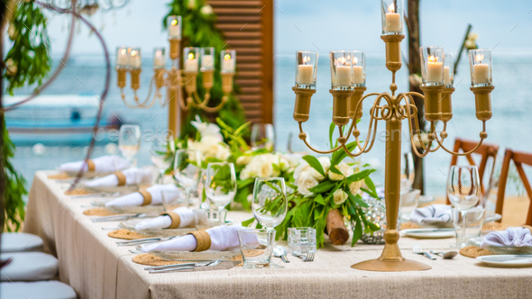 Table in the Restaurant on the Beach, Bali - Stock Photo - Images