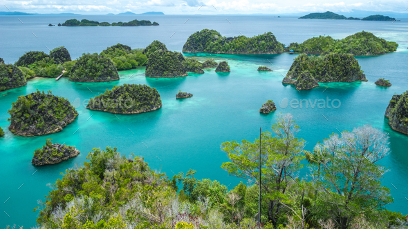 Painemo Island, Blue Lagoon, Raja Ampat, West Papua, Indonesia - Stock Photo - Images