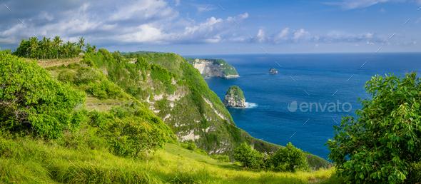 Coastline, Thousand Island, near Manta Bay or Kelingking Beach on Nusa Penida Island, Bali - Stock Photo - Images
