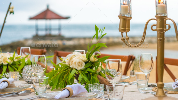 Close up of Table decoration in the Restaurant on the Beach, Bali - Stock Photo - Images
