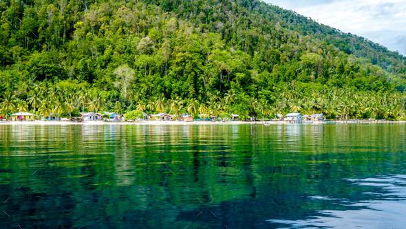 Village on Monsuar Island. Raja Ampat, Indonesia, West Papua - Stock Photo - Images