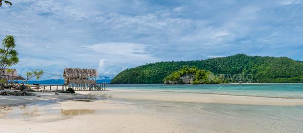 Water Hut of Homestay on Kri Island. Raja Ampat, Indonesia, West Papua - Stock Photo - Images