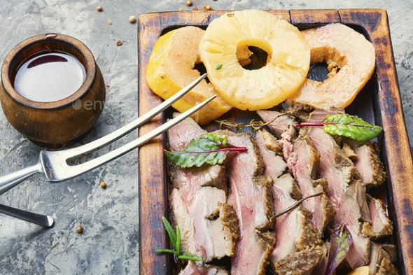 Roasted duck with pineapple - Stock Photo - Images
