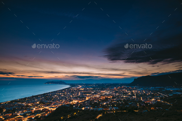 Terracina, Italy. Top View Skyline Cityscape City In Evening Nig - Stock Photo - Images