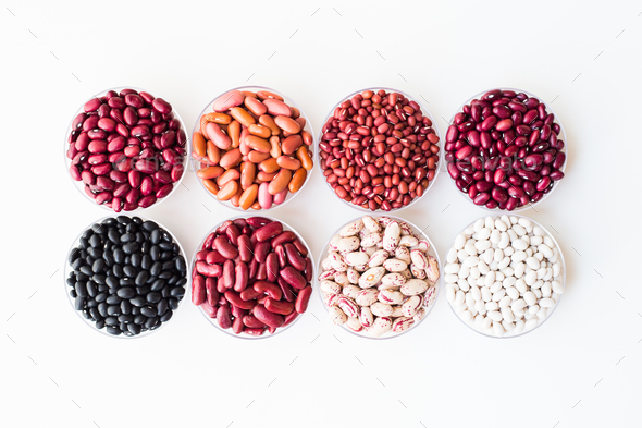 collection set of beans, legumes on bowl on white background - Stock Photo - Images