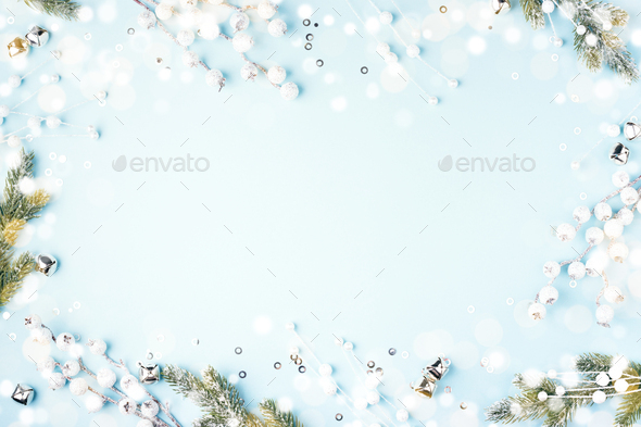 Christmas Frame with Fir Branches and White Decorations. - Stock Photo - Images