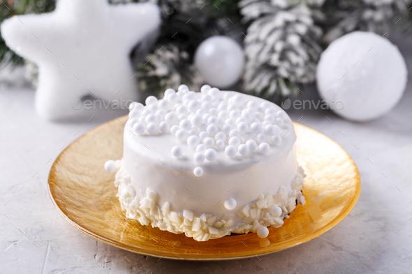 White chocolate Christmas cake - Stock Photo - Images