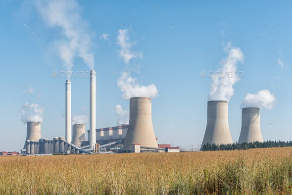 Tutuka Power Station near Standerton in the Mpumalanga Province - Stock Photo - Images