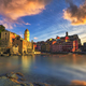 Vernazza village sunset, church, rocks and sea harbor. Cinque Te - PhotoDune Item for Sale