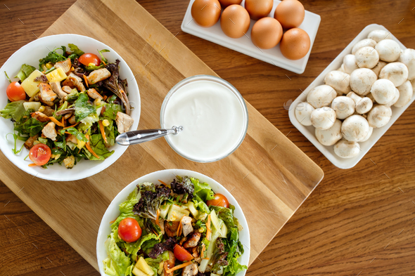 Chicken caesar salad with grilled chicken. Healthy food concept - Stock Photo - Images