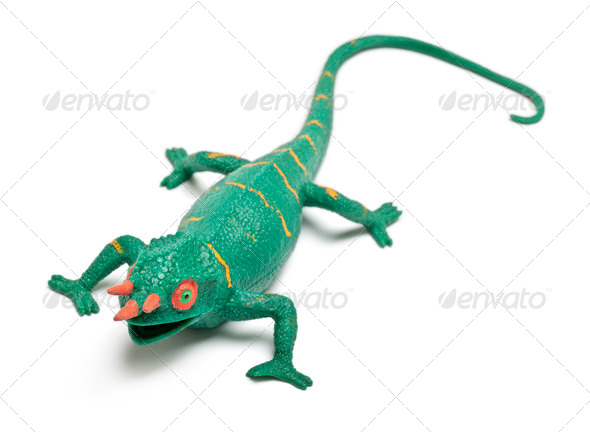 Chameleon toy in front of white background - Stock Photo - Images