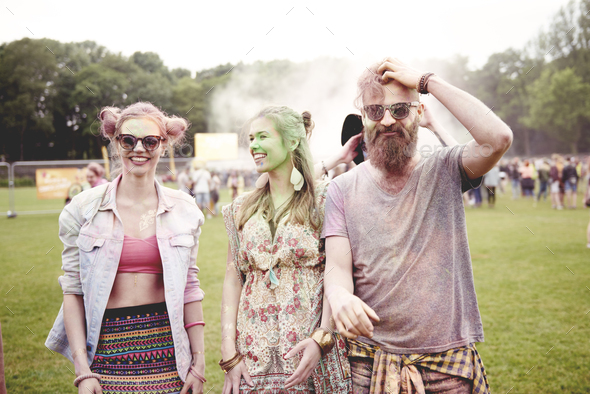 Young people has good party at the festival - Stock Photo - Images
