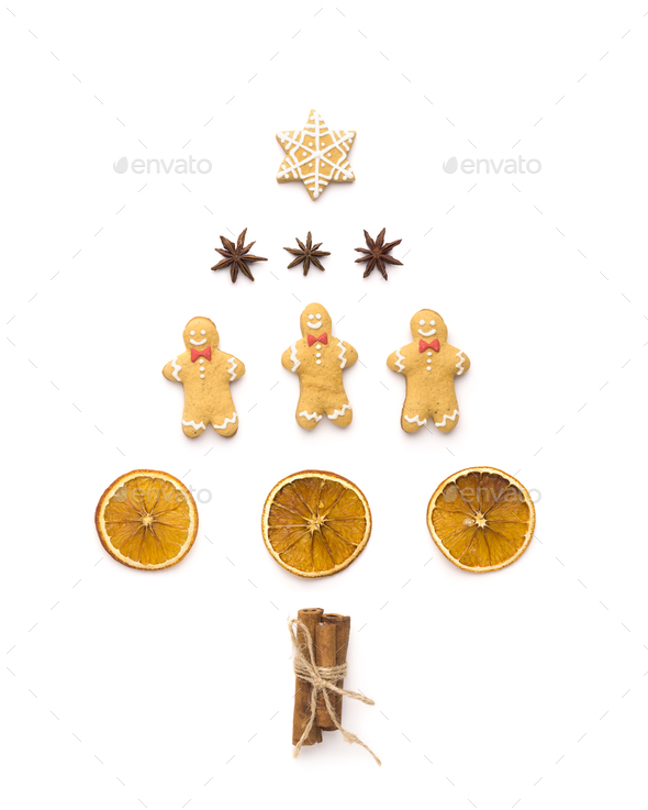Set for tea with ginger breads in shape of pine tree on white - Stock Photo - Images